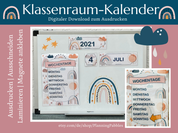 Kalender für den Klasenraum oder das Homeschooling im Regenbogen-Design. Copyright Petra A. Bauer 2021.